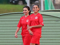 Imane Ait Malek (39) of Woluwe and Lina Haulani (2) of Woluwe leaving the pitch at the end of warm up before a female soccer game between FC Femina White Star Woluwe and Club Brugge YLA on the second matchday in the 2021 - 2022 season of Belgian Scooore Womens Super League , Friday 27 th of August 2021  in Woluwe , Belgium . PHOTO SPORTPIX | SEVIL OKTEM