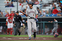 Mahoning Valley Scrappers Bryan Lavastida (1) at bat during a NY-Penn League game against the Auburn Doubledays on August 27, 2019 at Falcon Park in Auburn, New York.  Auburn defeated Mahoning Valley 3-2 in ten innings.  (Mike Janes/Four Seam Images)