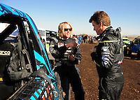 Dec. 9, 2011; Chandler, AZ, USA;  LOORRS pro 2 unlimited driver Robby Woods (left) and Rob MacCachren during qualifying for round 15 at Firebird International Raceway. Mandatory Credit: Mark J. Rebilas-