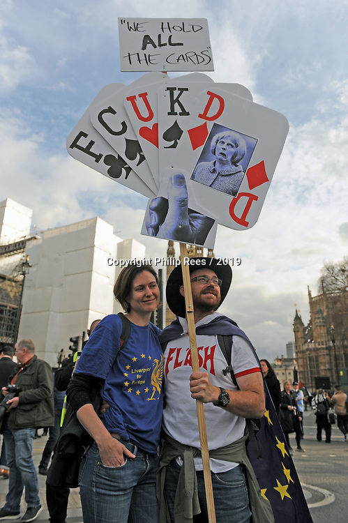"""Protesters in Parliament Square during the """"Put it to the People"""" rally which made it's way through central London today. Demonstrators from across the country gathered to call for a second referendum on Brexit and to march through the UK capital finishing with speeches in Parliament Square opposite the Houses of Parliament in Westminster."""