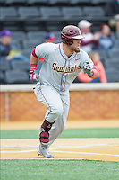 DJ Stewart (8) of the Florida State Seminoles hustles down the first base line against the Wake Forest Demon Deacons at Wake Forest Baseball Park on April 19, 2014 in Winston-Salem, North Carolina.  The Seminoles defeated the Demon Deacons 4-3 in 13 innings.  (Brian Westerholt/Four Seam Images)