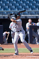Scottsdale Scorpions shortstop Thairo Estrada (99), of the New York Yankees organization, at bat during a game against the Peoria Javelinas on October 19, 2017 at Peoria Stadium in Peoria, Arizona. The Scorpions defeated the Javelinas 13-7.  (Zachary Lucy/Four Seam Images)