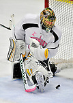28 January 2012: University of Vermont Catamount starting goaltender Alex Vazzano, a Sophomore from Trumbull, CT, gives up a second period goal to the visiting Northeastern University Huskies at Gutterson Fieldhouse in Burlington, Vermont. The Catamounts, dressed in their Breast Cancer Awareness jerseys, fell to the Huskies 4-2 in the second game of their 2-game Hockey East weekend series. Mandatory Credit: Ed Wolfstein Photo