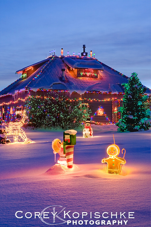 Christmas lights adorn the Stanko ranch in Steamboat Springs Colorado.