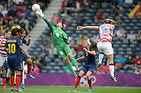 Glasgow, Scotland - Saturday, July 28, 2012:  Sandra Sepulveda of the Colombia women's soccer team makes a save during a 3-0 loss to the USA in the first round of the Olympic football tournament at Hamden Park.