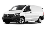 Stock pictures of low aggressive front three quarter view of 2019 Mercedes Benz Vito Base 4 Door Car Van Low Aggressive