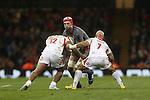 Hemani Paea and Nili Latu close the gap on Wales lock Luke Charteris<br /> <br /> Dove Men Series 2013<br /> Wales v Tonga<br /> Millennium Stadium - Cardiff<br /> 22.11.13<br /> ©Steve Pope-SPORTINGWALES