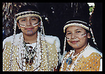 Two Gabrieleno/Tongva sisters in regalia and face paint, Kuruvungna Springs, Santa Monica, CA