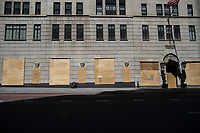 NEW YORK, NEW YORK - JUNE 08: Boarded up stores are seen on the 5th avenue on June 08, 2020 in New York City. The City began first phase of reopening after nearly three months of shutdown , also Protests continue over black Americans abuse by the Police (Photo by Kena Betancur/VIEWpress via Getty Images)