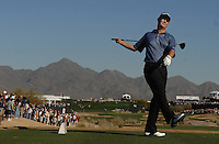 Feb 4, 2007; Scottsdale, AZ, USA; Jeff Quinney reacts after hitting into the water on the 17th hole while leading by one stroke during the final round of the FBR Open at the TPC Scottsdale in Scottsdale, Arizona. Mandatory Credit: Mark J. Rebilas-US Presswire Copyright Mark J. Rebilas