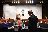 United States Senator Marsha Blackburn (Republican of Tennessee), speaks to witness Randall Noel before a Senate Judiciary Committee confirmation hearing on the nomination of Amy Coney Barrett for Associate Justice of the Supreme Court, on Capitol Hill in Washington, DC on Thursday, October 15, 2020.  If confirmed, Barrett will replace Justice Ruth Bader Ginsburg, who died last month.     <br /> Credit: Kevin Dietsch / Pool via CNP /MdeiaPunch