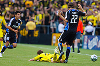 27 MAY 2009: #19 Robbie Rogers, Columbus Crew forward is foulded by #22 Kelly Gray of the San Jose Earthquakes in action during the San Jose Earthquakes at Columbus Crew MLS game in Columbus, Ohio on May 27, 2009. The Columbus Crew defeated San Jose 2-1