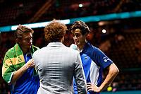 Rotterdam, The Netherlands, 15 Februari 2020, ABNAMRO World Tennis Tournament, Ahoy, <br /> Pablo Carreno Busta (ESP), Felix Auger-Alissime (CAN).<br /> Photo: www.tennisimages.com