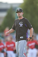 Grand Junction Rockies manager Jake Opitz (3) walks off the mound during a Pioneer League game against the Grand Junction Rockies at Dehler Park on August 15, 2019 in Billings, Montana. Billings defeated Grand Junction 11-2. (Zachary Lucy/Four Seam Images)