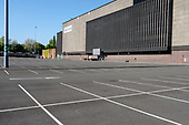 Coronavirus pandemic.  Empty car park at Brent Cross Shopping Centre, London.  All shops except food stores and a pharmacy in the retail park are closed during the Covid-19 lockdown.