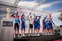 Team Deceuninck-Quickstep at the race start in Orbetello<br /> <br /> Stage 4: Orbetello to Frascati (228km)<br /> 102nd Giro d'Italia 2019<br /> <br /> ©kramon