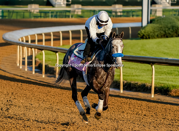 April 26, 2021: Crazy Beautiful, trained by trainer Kenneth McPeek, exercises in preparation for the Kentucky Oaks at Churchill Downs on April 26, 2021 in Louisville, Kentucky. Scott Serio/Eclipse Sportswire/CSM