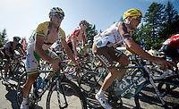 Simon Gerrans (AUS/Orica-GreenEDGE) in the first grupetto up the final climb to Chamrousse (1730m/18.2km/7.3%)<br /> <br /> 2014 Tour de France<br /> stage 13: Saint-Etiènne - Chamrousse (197km)