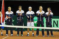 September 12, 2014, Netherlands, Amsterdam, Ziggo Dome, Davis Cup Netherlands-Croatia, Presentation, team Netherlands<br /> Photo: Tennisimages/Henk Koster
