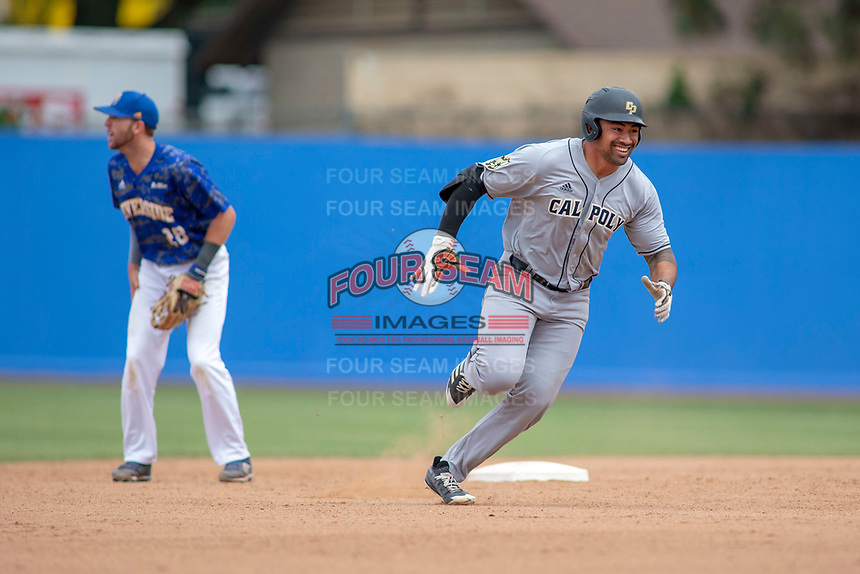 Cal Poly San Luis Obispo Mustangs Elijah Skipps (24) rounds second base against the UC-Riverside Highlanders at Riverside Sports Complex on May 26, 2018 in Riverside, California. The Cal Poly SLO Mustangs defeated the UC Riverside Highlanders 6-5. (Donn Parris/Four Seam Images)