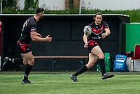 Jordan Williams of London Broncos warms up during the Betfred Championship match between London Broncos and Newcastle Thunder at The Rock, Rosslyn Park, London, England on 9 May 2021. Photo by Liam McAvoy.