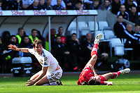 Pictured: Swansea's Michu (L) claims a free kick.<br /> Saturday 20 April 2013<br /> Re: Barclay's Premier League, Swansea City FC v Southampton at the Liberty Stadium, south Wales.