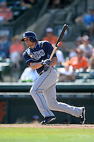 Tampa Bay Rays outfielder Mikie Mahtook (27) during a Spring Training game against the Baltimore Orioles on March 14, 2015 at Ed Smith Stadium in Sarasota, Florida.  Tampa Bay defeated Baltimore 3-2.  (Mike Janes/Four Seam Images)