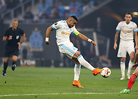 16th May 2018, Stade de Lyon, Lyon, France; Europa League football final, Marseille versus Atletico Madrid; Dimitri Payet of Marseille taking a shot on Atletico goal