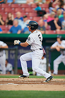 Kane County Cougars center fielder Gabriel Maciel (5) follows through on a swing during a game against the South Bend Cubs on July 23, 2018 at Northwestern Medicine Field in Geneva, Illinois.  Kane County defeated South Bend 8-5.  (Mike Janes/Four Seam Images)