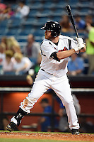 Nashville Sounds first baseman Hunter Morris (25) at bat during a game against the Omaha Storm Chasers on May 19, 2014 at Herschel Greer Stadium in Nashville, Tennessee.  Nashville defeated Omaha 5-4.  (Mike Janes/Four Seam Images)