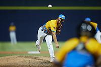 Rapidos de Kannapolis relief pitcher Marcus Evey (6) in action against the Guerreros de Fayetteville at Atrium Health Ballpark on June 24, 2021 in Kannapolis, North Carolina. (Brian Westerholt/Four Seam Images)