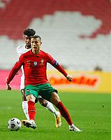14th November 2020, The Estádio da Luz, Lisbon, Portugal; Nations League International football, Portugal versus France; Cristiano Ronaldo of Portugal shields the ball