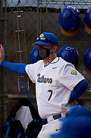 Pitt Panthers head coach Mike Bell (7) during the teams opening game of the season against the Indiana State Sycamores on February 19, 2021 at North Charlotte Regional Park in Port Charlotte, Florida.  (Mike Janes/Four Seam Images)