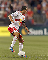 New York Red Bulls forward Tim Cahill (17) looks to pass. Despite a red-card man advantage, in a Major League Soccer (MLS) match, the New England Revolution tied New York Red Bulls, 1-1, at Gillette Stadium on September 22, 2012.