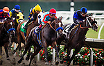 August  02 2014: Tiz Midnight with Victor Espinoza (red cap) up wins an allowance race at Del Mar Race Track in Del Mar CA. Alex Evers/ESW/CSM
