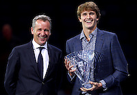 Alexander Zverev of Germany receives the Star of Tomorrow award from Chris Kermode, ATP Chairman and President, at the ATP World Tour Finals, The O2, London, 2015