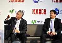 BOGOTA - COLOMBIA - 07 - 05 - 2013: Angel Maria Villar (Izq.), Presidente de la Federacion  Española de Futbol y Luis Bedoya (Der.), Presidente de la Federacion  Colombiana de Futbol durante Foro en Bogota, mayo 7 de 2013.  El diario Marca Colombia, en su lanzamiento realizo el I FORO COLOMBIA Y ESPAÑA, RUMBO AL MUNDIAL BRASIL2014, (Foto. VizzorImage / Luis Ramirez / Staff). Angel Maria Villar (L), President of the Spanish Football Federation and Luis Bedoya (R), President of the Federacion Colombiana de Futbol during forum in Bogota, May 7, 2013. The newspaper Marca Colombia, at launch I performed the FORUM COLOMBIA AND SPAIN, WAY TO WORLD BRASIL 2014, (Photo. VizzorImage / Luis Ramirez / Staff).