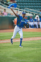Mark Washington (52) of the Ogden Raptors throws to first base against the Idaho Falls Chukars at Lindquist Field on July 29, 2018 in Ogden, Utah. The Raptors defeated the Chukars 20-19. (Stephen Smith/Four Seam Images)