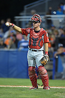 Lowell Spinners catcher David Sopilka (3) during a game against the Batavia Muckdogs on July 18, 2014 at Dwyer Stadium in Batavia, New York.  Lowell defeated Batavia 11-2.  (Mike Janes/Four Seam Images)