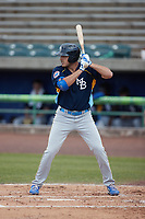 Matt Mervis (57) of the Myrtle Beach Pelicans at bat against the Lynchburg Hillcats at Bank of the James Stadium on May 23, 2021 in Lynchburg, Virginia. (Brian Westerholt/Four Seam Images)