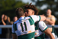 Guy Armitage of Ealing Trailfinders scores their fifth try during the Greene King IPA Championship match between Ealing Trailfinders and Cornish Pirates at Castle Bar , West Ealing , England  on 29 September 2018. Photo by Match action Paul Paxford / PRiME Media Images.