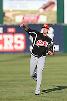 Connor Sadzeck (14) of the High Desert Mavericks warms up before pitching during a game against the Lancaster JetHawks at The Hanger on May 19, 2015 in Lancaster, California. Lancaster defeated High Desert, 8-7. (Larry Goren/Four Seam Images)