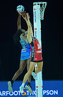 Grace Nweke beats Jane Watson to the ball during the ANZ Premiership netball final between Northern Mystics and Mainland Tactix at Spark Arena in Auckland, New Zealand on Sunday, 8 August 2021. Photo: Dave Lintott / lintottphoto.co.nz