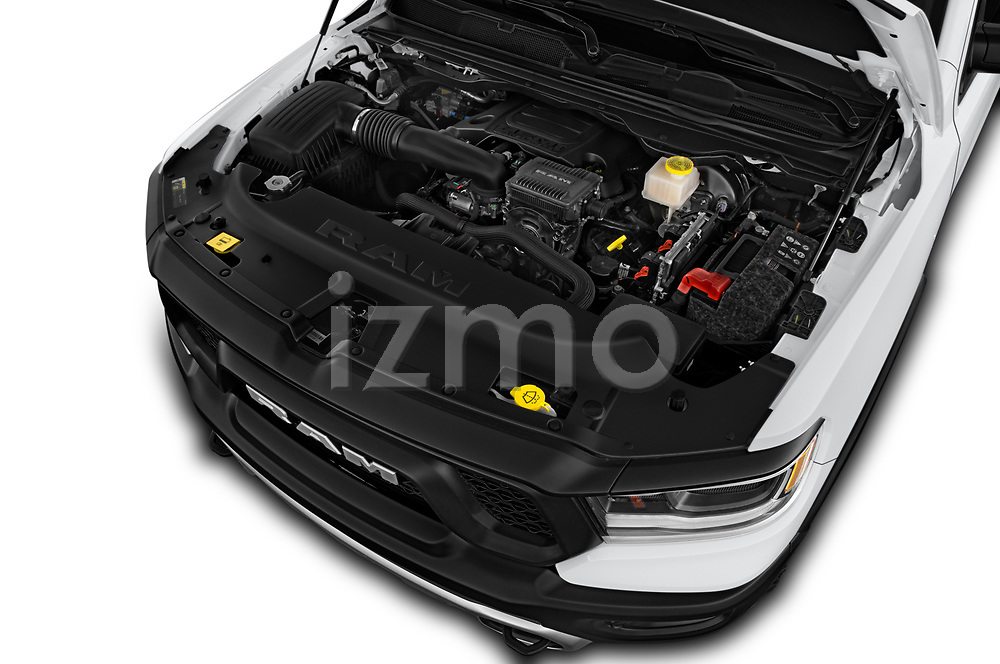 Car stock 2019 Ram 1500 Rebel 4 Door Pick Up engine high angle detail view