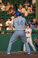 Catcher Sean Ochinko #14 of the Dunedin Blue Jays during the game against the Daytona Cubs at Jackie Robinson Ballpark on April 9, 2012 in Daytona Beach, Florida. (Scott Jontes / Four Seam Images)