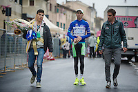 2013 Giro d'Italia.stage 12.Longarone - Treviso: 134km..Blue jersey (climber) Stefano Pirazzi (ITA) coming back from the podium ceremony