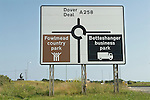 Bettshanger Kent UK. Sign for Bettshanger and Fowlmead Country Park, which was where the spoil heap from the mine was situated.   Statue of a Kent miner with miners hat and lamp.