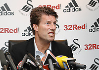 Michael Laudrup is official unveiled as the new manager of Swansea City FC in a press conference at the Liberty Stadium, today, 21/06/12<br /> Picture by: Ben Wyeth / Athena Picture Agency