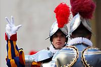 Cerimonia del Giuramento delle Guardie Svizzere nel Cortile di San Damaso, Citta' del Vaticano, 6 maggio 2017.<br /> Pontifical Swiss Guards attend the swearing-in during a ceremony at the San Damaso courtyard, Vatican, 6 May 2017.<br /> UPDATE IMAGES PRESS/Riccardo De Luca<br /> <br /> STRICTLY ONLY FOR EDITORIAL USE