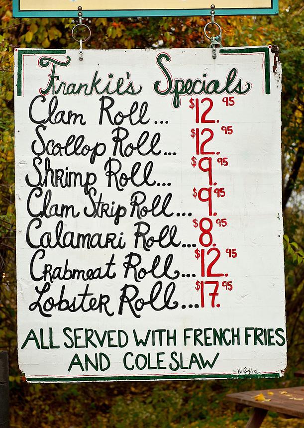 Seafood shack menu.